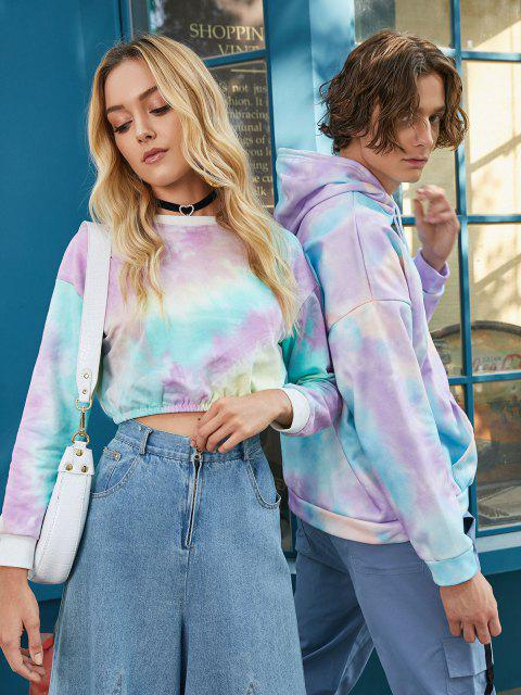 women Tie Dye Pullover Fleece Drawstring Hoodie - BLUE S Mobile
