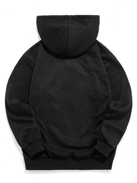 buy ZAFUL Graphic Pattern Casual Hoodie - BLACK 2XL Mobile