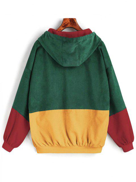 latest Hooded Color Block Corduroy Jacket - GREEN XL Mobile