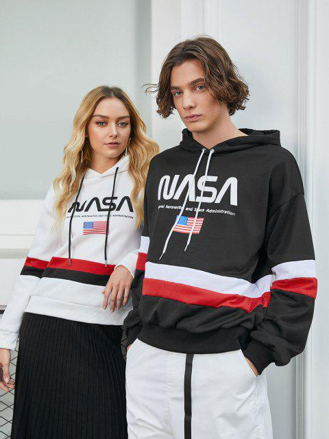 womens ZAFUL American Flag Color Blocking Letter Print Hoodie - BLACK XL Mobile