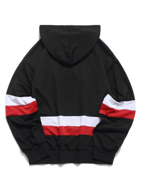 women ZAFUL American Flag Color Blocking Letter Print Hoodie - BLACK 2XL Mobile