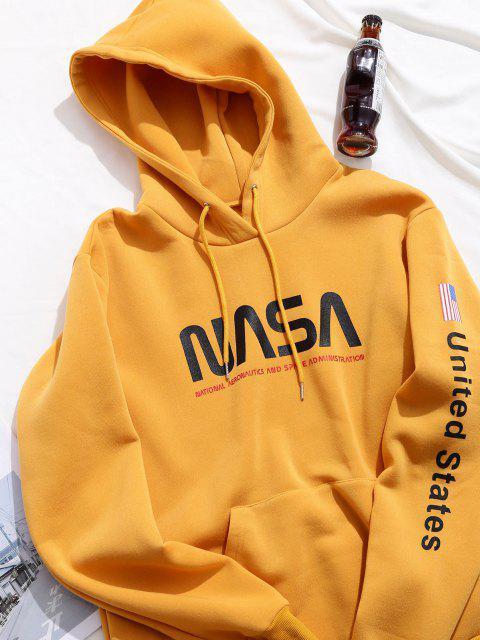 Buchstabe Grafik Amerikanische Flaggendruck Känguru Taschen Hoodie - Biene Gelb XL Mobile