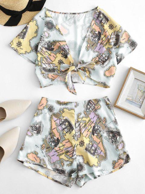 buy ZAFUL Sailing Boat Print Tie Front Two Piece Set - MULTI S Mobile