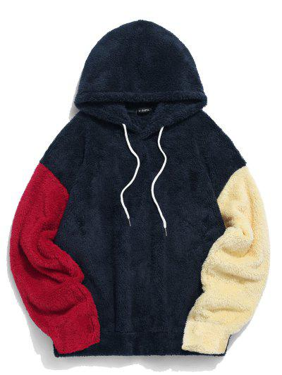 ZAFUL Color-blocking Splicing Fuzzy Pullover Hoodie - Cadetblue L