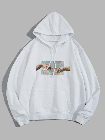 Helping Hands Graphic Front Pocket Lounge Hoodie - White L