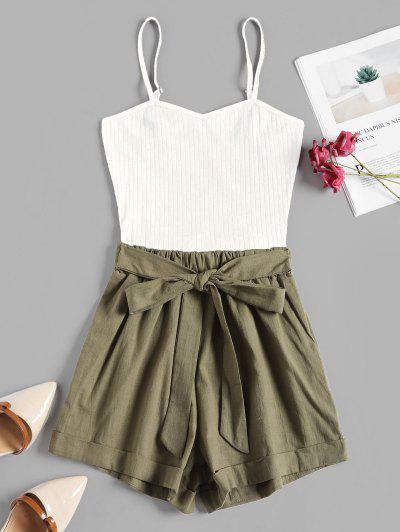 Ribbed Panel Tie Waist Two Tone Cami Romper - White L