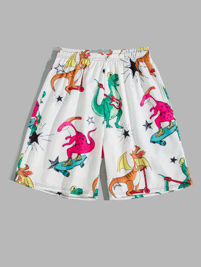 Cartoon Playing Dinosaur Print Shorts