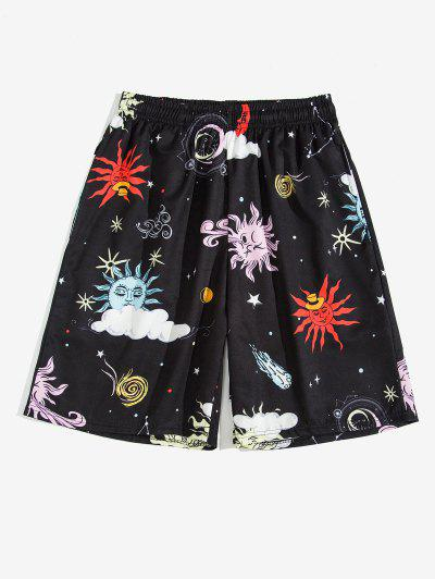 Cartoon Sun and Moon Print Shorts