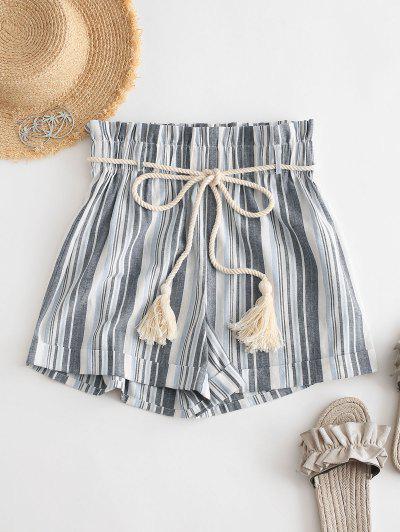 ZAFUL Rope Belt Striped Paperbag Shorts - Mist Blue L