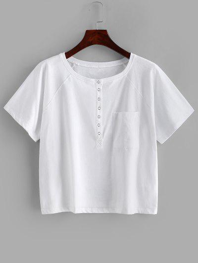 Snap Button Solid Pocket Tee - White S