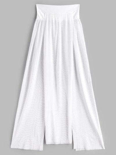 Mesh See Thru Slit Cover Up Skirt - White