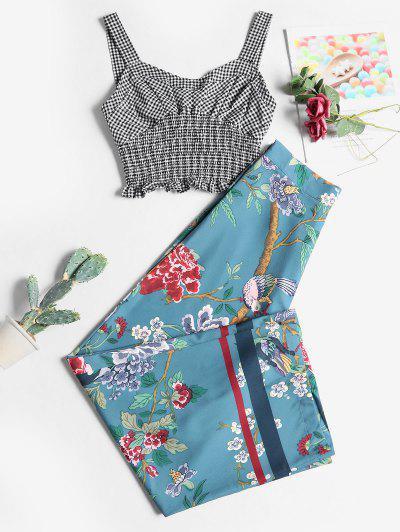 Pantalones De Pierna Ancha Con Estampado De Flores De Aves - Multicolor-a L