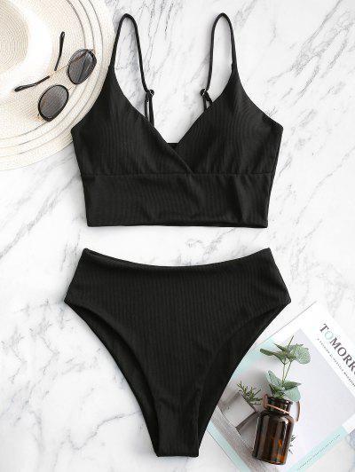 ZAFUL Ribbed High Cut Surplice Tankini Swimsuit - Black M