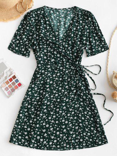 V Neck Tiny Floral Wrap Dress - Green M