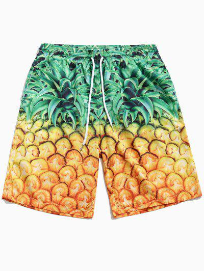 Pineapple Print Drawstring Board Shorts - Mustard L