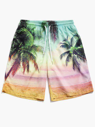 Beach Coconut Tree Print Board Shorts - Multi M