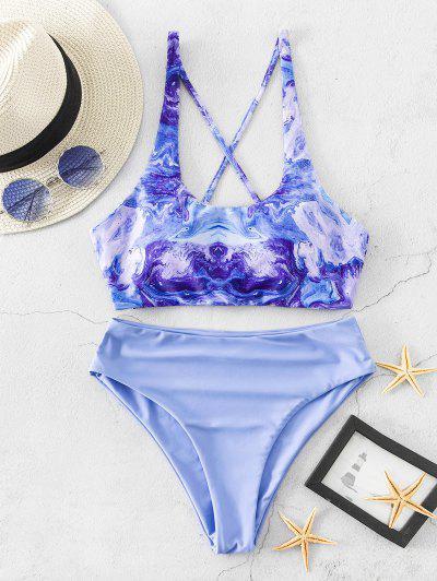 ZAFUL Abstract Print Lace Up High Cut Tankini Swimsuit - Powder Blue M