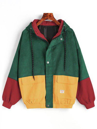 С капюшоном Цветной блок Вельвет Куртка - зеленый M