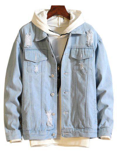 Casual Destroy Wash Ripped Denim Jacket - Light Blue Xl