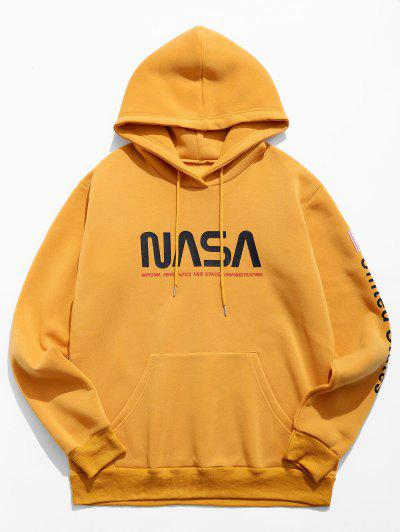 Letter Graphic American Flag Print Kangaroo Pocket Hoodie - Bee Yellow M
