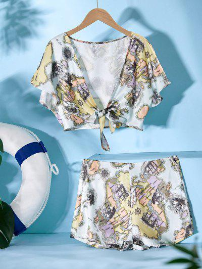 ZAFUL Sailing Boat Print Tie Front Two Piece Set - Multi M