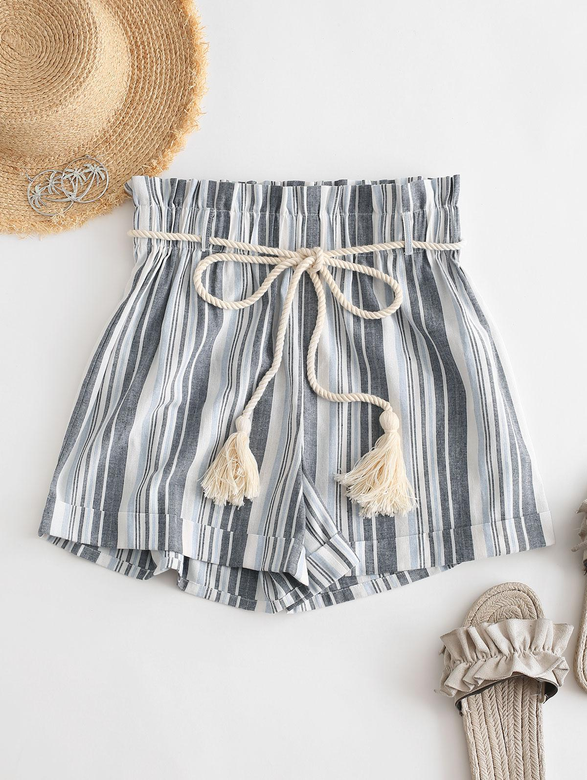 ZAFUL Rope Belt Striped Paperbag Shorts