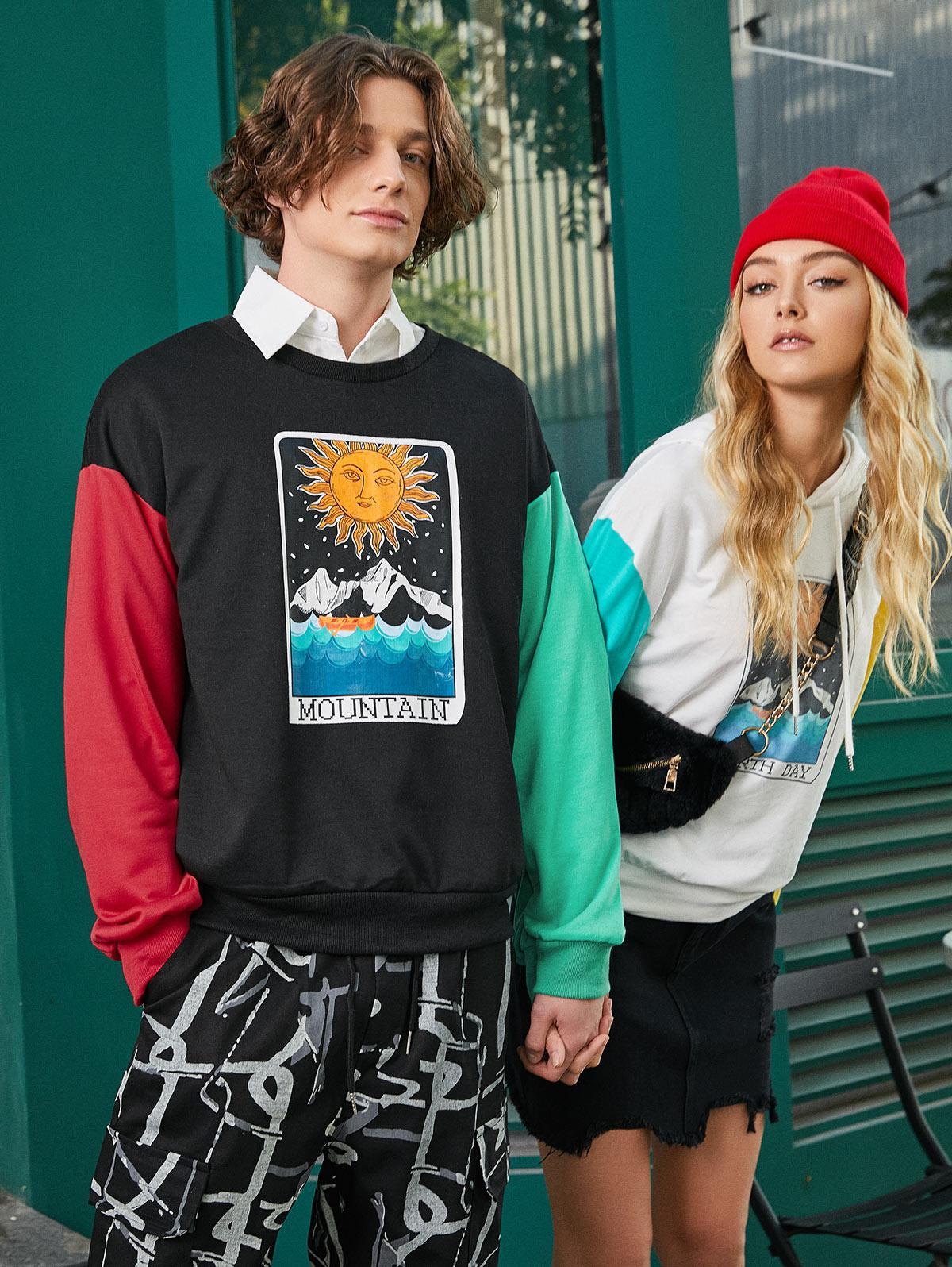 ZAFUL Cartoon Sun Mountain Graphic Color Block Splicing Sweatshirt фото