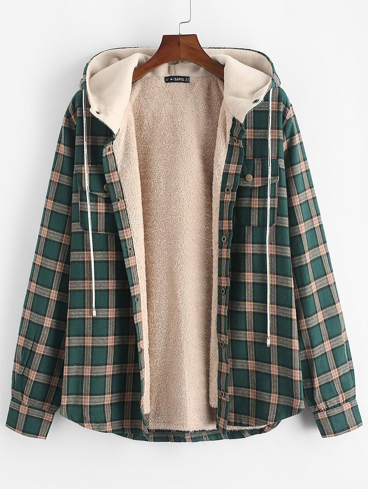 Plaid Chest Pocket Fleece Drawstring Hooded Jacket