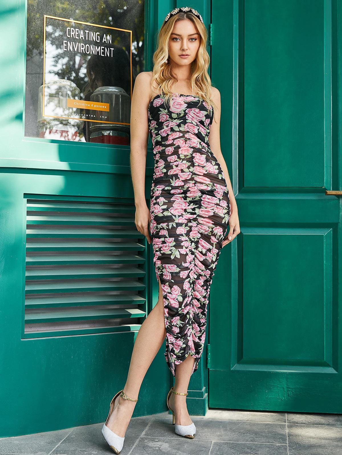 Mesh Flower Ruched Sheer Cami Slit Dress