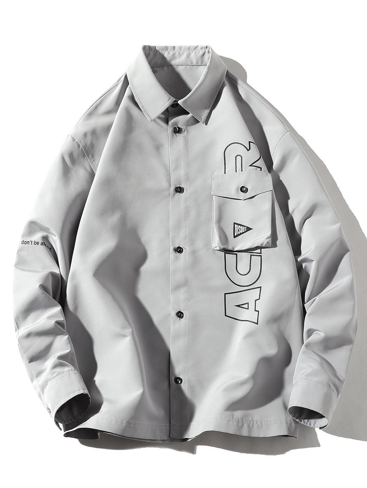 Letter Print Flap Pocket Long Sleeve Button Shirt thumbnail