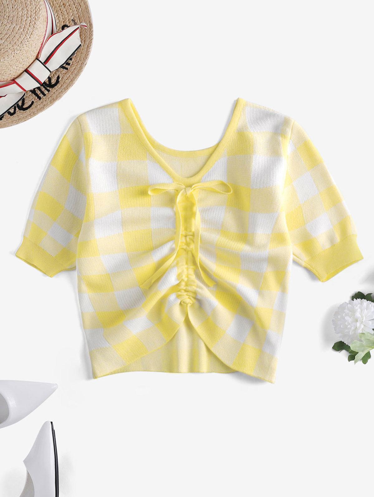 Plaid Cinched V Neck Knitwear thumbnail