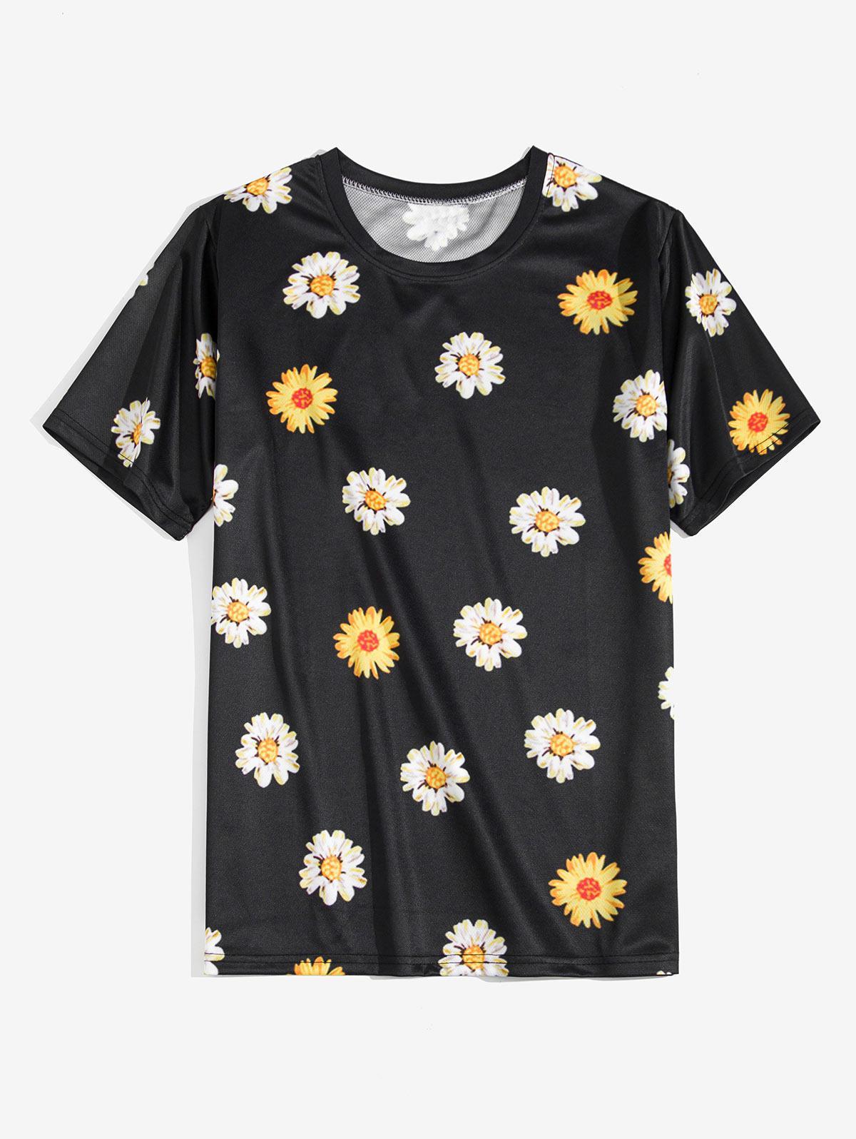 Daisy Flower Print Short Sleeve T-shirt фото