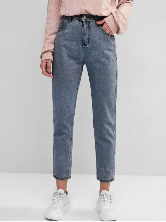 ladies Basic Mom Jeans - DEEP BLUE M