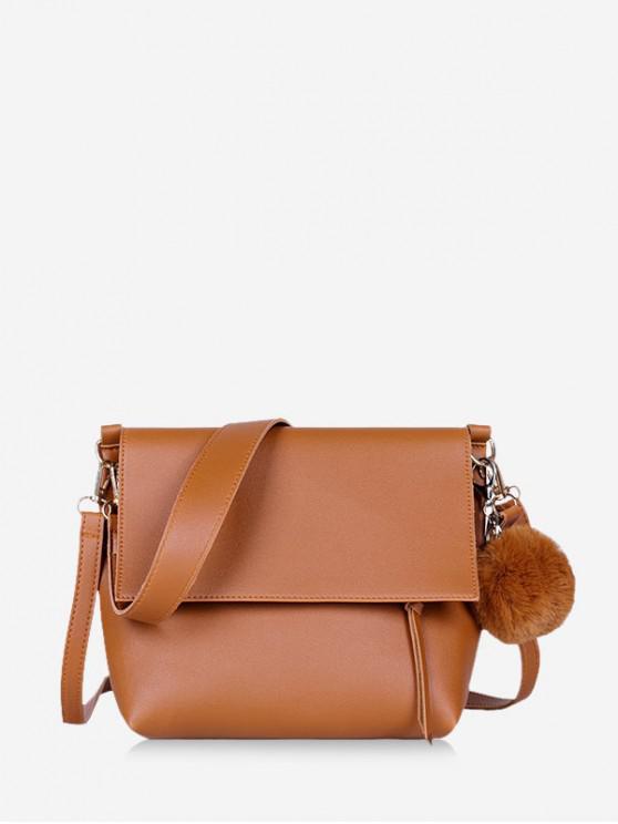 unique Pom Pom Flap Leather Crossbody Bag - BROWN