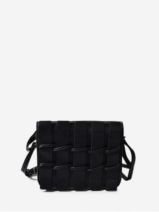 sale Plain Woven Leather Mini Crossbody Bag - BLACK
