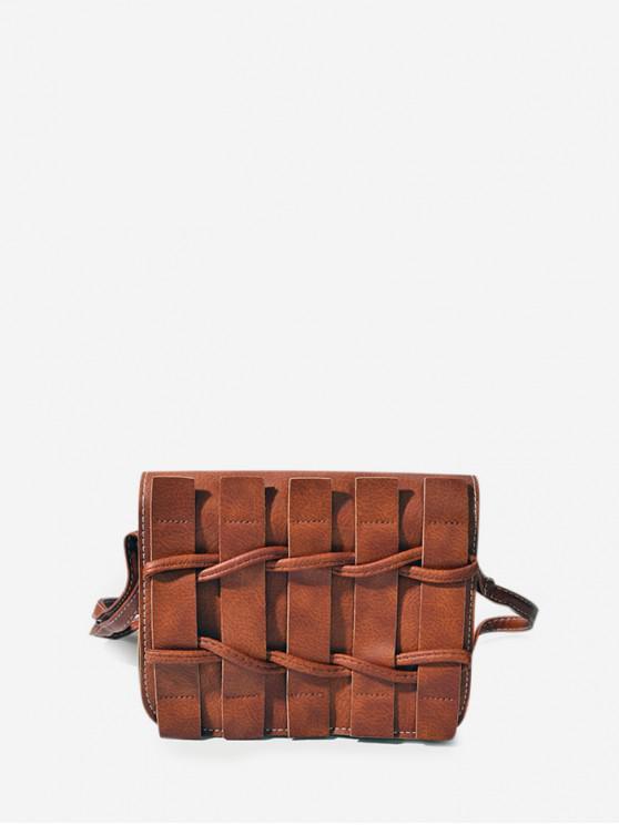 womens Plain Woven Leather Mini Crossbody Bag - BROWN