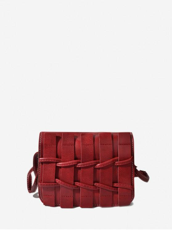 women Plain Woven Leather Mini Crossbody Bag - RED WINE
