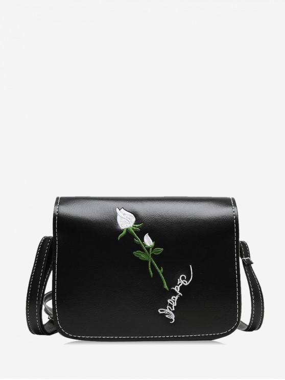 latest Embroidery Flower Retro Crossbody Bag - BLACK