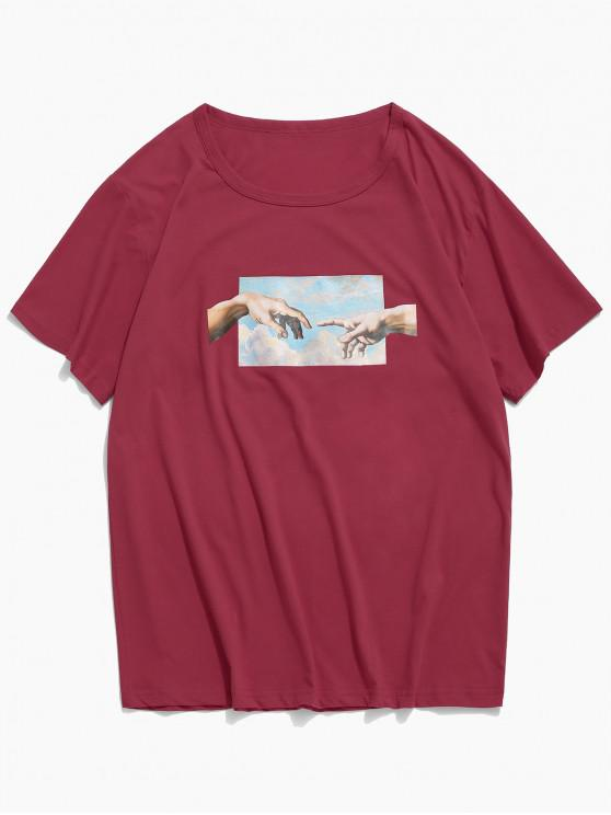 fancy Helping Hands Print Short Sleeves T-shirt - RED WINE L