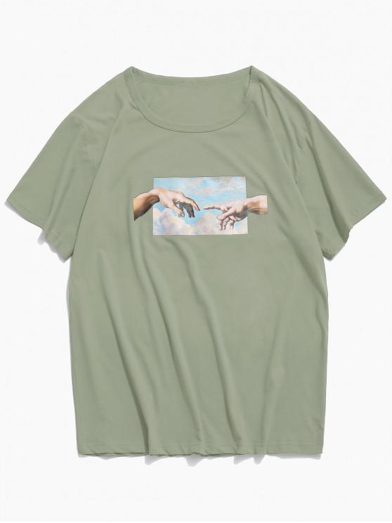 latest Helping Hands Print Short Sleeves T-shirt - JUNGLE GREEN L