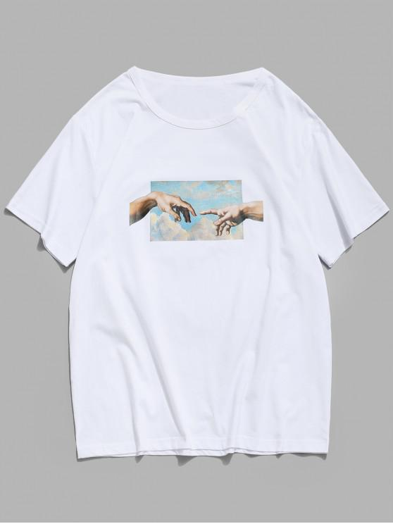 shop Helping Hands Print Short Sleeves T-shirt - WHITE L