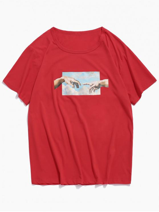 latest Helping Hands Print Short Sleeves T-shirt - RED M