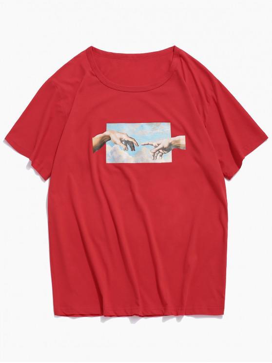 Camiseta de Manga Corta con Estampado de Manos - Rojo XS