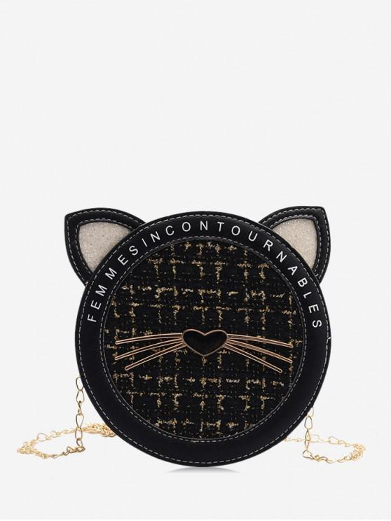 womens Cat Tweed Chain Canteen Bag - BLACK