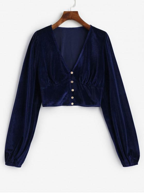 hot Velvet Loop Button Plunge Crop Top - DARK SLATE BLUE M