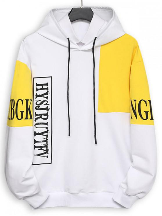 shop Colorblock Panel Letter Print Pouch Pocket Hoodie - WHITE XS