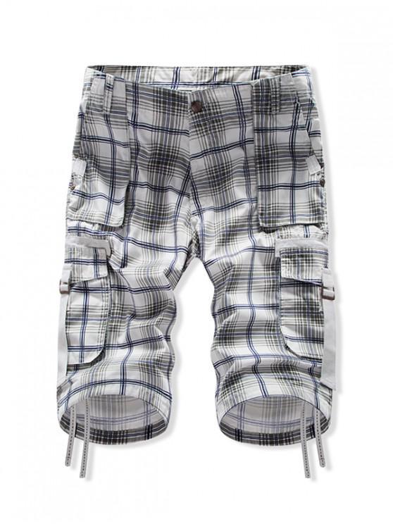 Plaid Multi-pocket Casual Cargo Shorts - Blu Mezzanotte  38