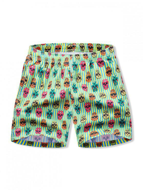 Skull a righe con coulisse Shorts - Verde Tè M