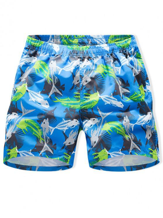 lady Fishbone Print Drawstring Board Shorts - DEEP SKY BLUE 3XL