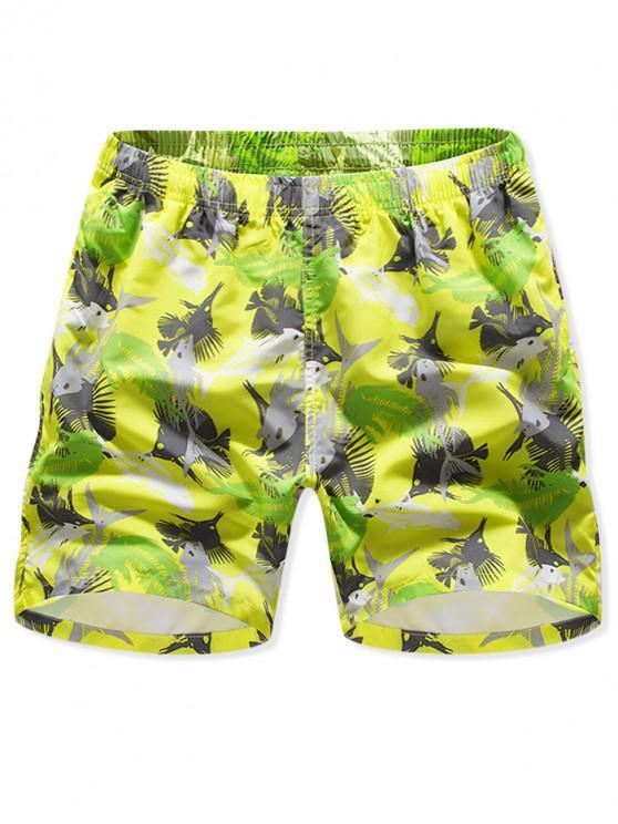 trendy Fishbone Print Drawstring Board Shorts - YELLOW 3XL